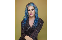 In this undated photo provided by Ocean, drag artist and photographer Ocean poses for a photo. Ocean, who lives in Berlin, turned to the live video feature of an LGBTQ+ app called Taimi to make friends across the world during the pandemic. (Courtesy of Ocean via AP)