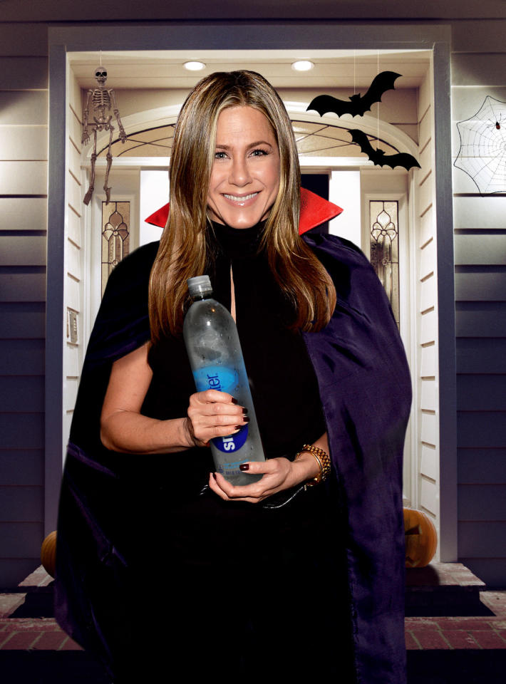 "<p>Thirsty from trekking all over the neighborhood? Then we would hope you head over to Aniston's house for a refreshing, albeit sugar-free stop: bottles of SmartWater. The <i>Horrible Bosses</i> actress represents the brand and consumes it in large quantities. She must have some extra boxes of the stuff just lying around her L.A. mansion. ""I drink 100 ounces of Smartwater every day,"" she once told <i><a rel=""nofollow"" href=""http://www.shape.com/celebrities/interviews/jennifer-aniston-answers-our-nosy-questions-about-smartwater-lady-gaga-and"" target=""_blank"">Shape</a></i>. How convenient! (Photo: Getty Images/Illustration by Daniel Miller) </p>"