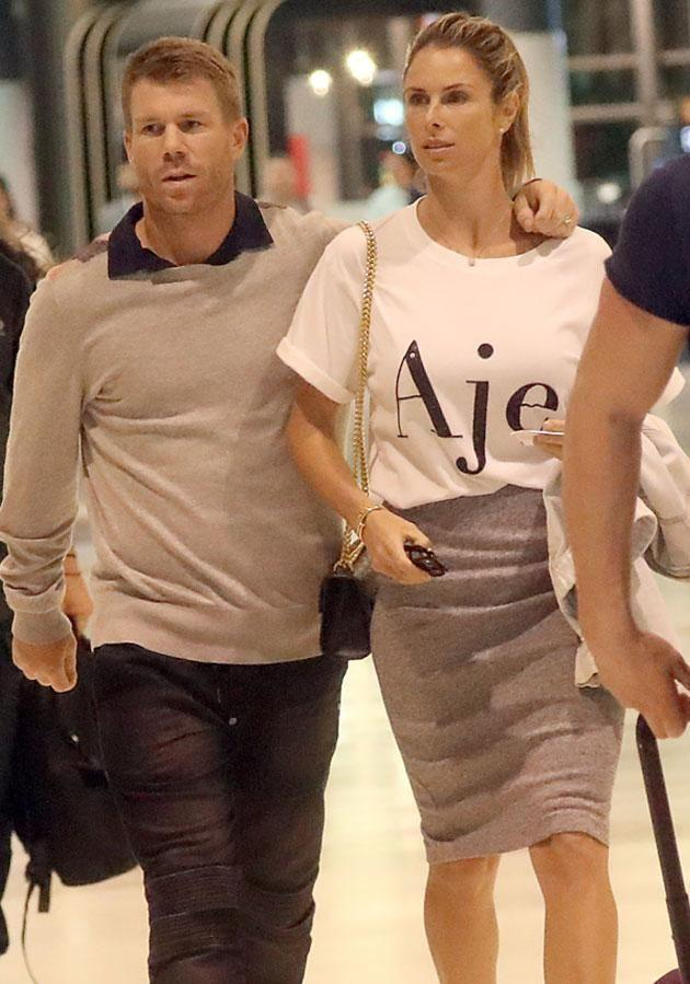 Candice Warner has been seen giving her disgraced husband David Warner a support as they stroll through Sydney airport. Source: Diimex
