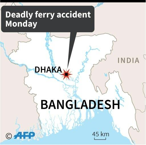 Map of Bangladesh locating the area of a deadly ferry accident