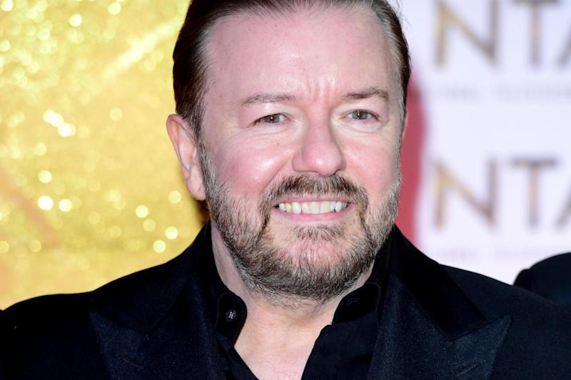 Ricky Gervais during the National Television Awards at London's O2 Arena: PA Wire/PA Images