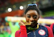 """<ul> <li><strong>On <a href=""""http://www.oprahdaily.com/entertainment/a36803126/simone-biles-facebook-watch-interview/"""" class=""""link rapid-noclick-resp"""" rel=""""nofollow noopener"""" target=""""_blank"""" data-ylk=""""slk:not letting herself get distracted"""">not letting herself get distracted</a>:</strong> """"From the very beginning I've always focused on myself and not tried to compete against everybody else. Because that's when the mistakes happen and you're not worried about yourself, you're worried about other people.""""</li> <li><strong>On <a href=""""http://www.cnn.com/2016/04/27/health/simone-biles-olympics-mom-100-days-until-rio/index.html"""" class=""""link rapid-noclick-resp"""" rel=""""nofollow noopener"""" target=""""_blank"""" data-ylk=""""slk:not letting her size hold her back"""">not letting her size hold her back</a>:</strong> """"[My mom] always told me that although I am small, that doesn't limit my power or define me. For me, I don't think about size - I focus more on being powerful and confident.""""</li> <li><strong>On <a href=""""http://www.oprahdaily.com/entertainment/a36803126/simone-biles-facebook-watch-interview/"""" class=""""link rapid-noclick-resp"""" rel=""""nofollow noopener"""" target=""""_blank"""" data-ylk=""""slk:setting expectations for herself"""">setting expectations for herself</a>:</strong> """"The biggest expectations are the ones I have for myself. Others' expectations don't really bother me at this point."""" </li> <li><strong>On <a href=""""http://www.vogue.com/article/simone-biles-self-acceptance-nocompetition"""" class=""""link rapid-noclick-resp"""" rel=""""nofollow noopener"""" target=""""_blank"""" data-ylk=""""slk:how she prepares to compete"""">how she prepares to compete</a>:</strong> """"Before I go out and compete, my mom always says, 'Be the best, Simone,' but other than that, there's nothing special that I do. I'm just myself.""""</li> </ul>"""