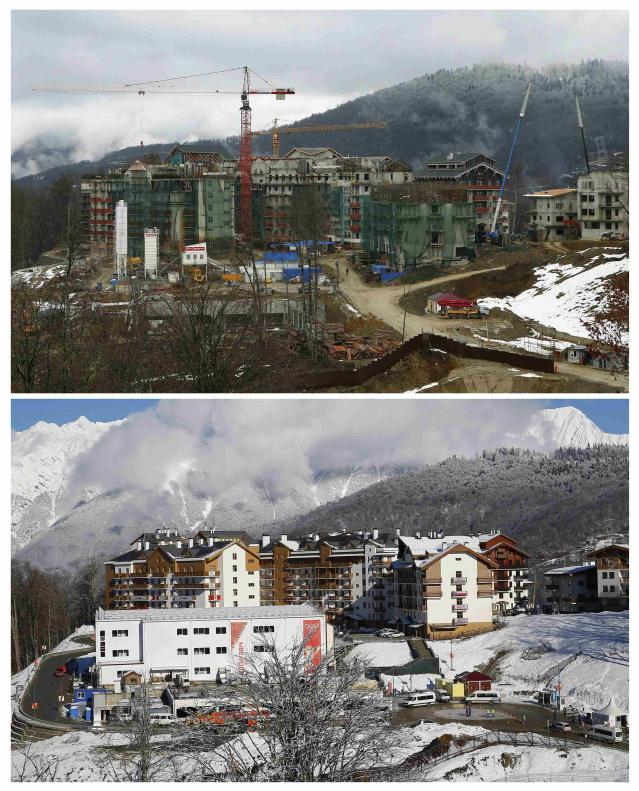This combination picture shows the development over the past 11 months at the construction site of the Olympic mountain village at the Rosa Khutor alpine resort near Sochi, from February 2013 (top) to February 1, 2014 (bottom). Sochi will host the 2014 Winter Olympic Games from February 7 to 23. REUTERS/Kai Pfaffenbach (RUSSIA - Tags: SPORT OLYMPICS)