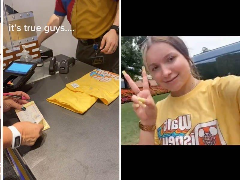Screenshots from a TikTok video showing a checkout counter with a yellow shirt, at left, and a woman wearing the shirt, at right. She said she had worn a bikini-style top at Disney World and was escorted to get the yellow shirt.