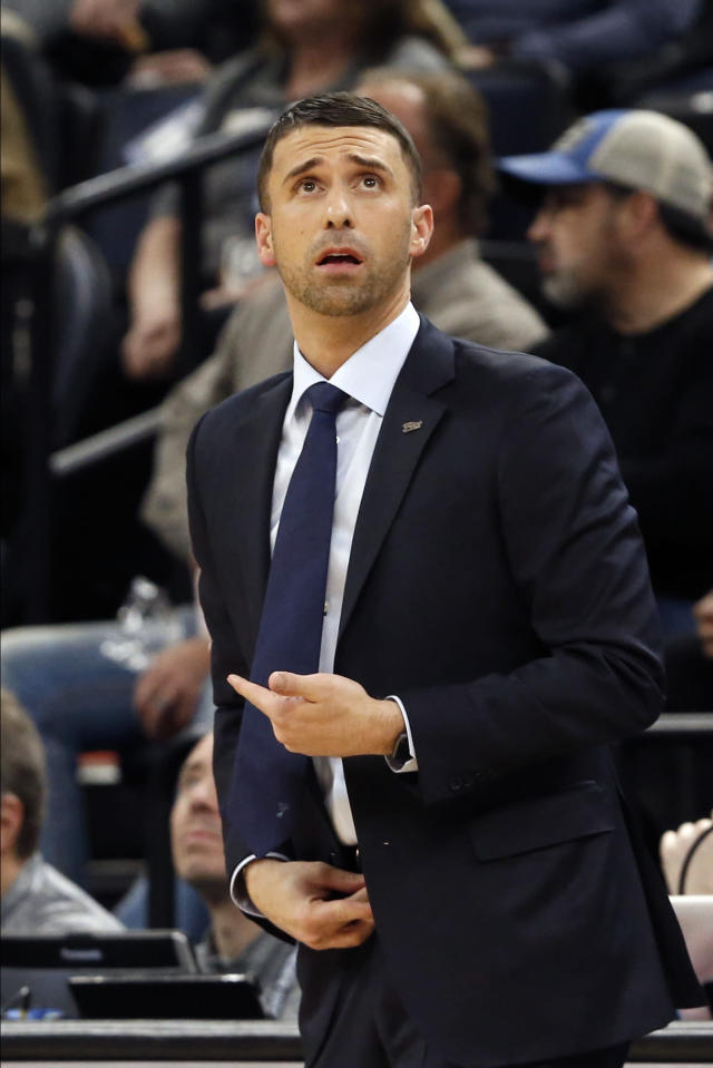 Minnesota Timberwolves head coach Ryan Saunders watches the scoreboard in the first half of an NBA basketball game against the Indiana Pacers, Wednesday, Jan. 15, 2020, in Minneapolis. (AP Photo/Jim Mone)
