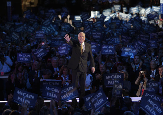 <p>Republican presidential candidate John McCain acknowledges the crowed as he goes on stage at the Republican National Convention in St. Paul, Minn., Sept. 4, 2008. (Photo: Paul Sancya/AP) </p>