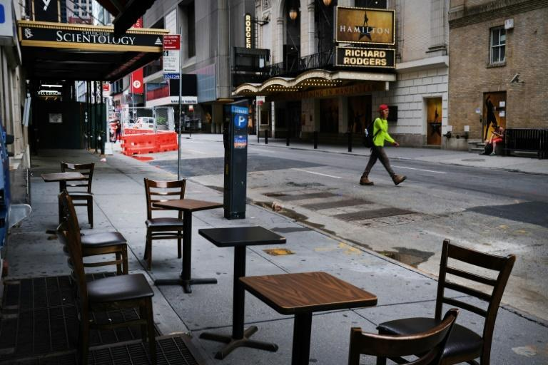 The coronavirus epidemic has left thousands dead in New York and hammered the economy, as seen in this photo of an empty Broadway theater district; but some locals hope the crisis will give the city an opportunity to reinvent itself