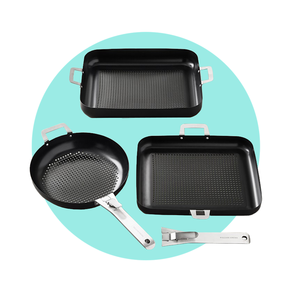 """$160, Williams Sonoma. <a href=""""https://www.williams-sonoma.com/products/williams-sonoma-high-heat-nonstick-cookware-set/?pkey=coutdoor-cookware"""" rel=""""nofollow noopener"""" target=""""_blank"""" data-ylk=""""slk:Get it now!"""" class=""""link rapid-noclick-resp"""">Get it now!</a>"""