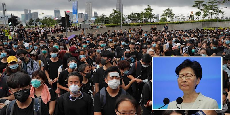 Carrie Lam protest wide Hong Kong