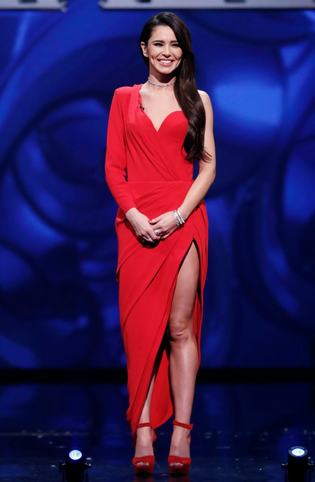 <p>Cheryl wore an Ulyana Sergeenko dress and Christian Louboutin shoes at the 'We Are Most Amused And Amazed' ITV programme celebrating The Prince of Wales' 70th Birthday in London. [Photo: Rex] </p>