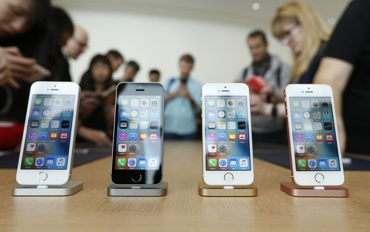 The new iPhone SE is seen on display during an event at the Apple headquarters in Cupertino, California