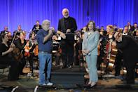<p>George Lucas, John Williams and Kathleen Kennedy (Photo: Gerardo Mora/Getty Images) </p>