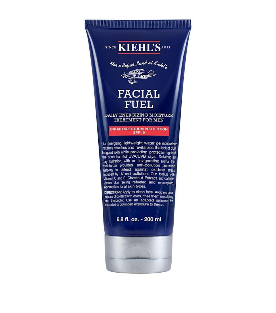 """<p><a class=""""link rapid-noclick-resp"""" href=""""https://www.kiehls.co.uk/facial-fuel-energizing-moisture-treatment-for-men/3700194719104.html"""" rel=""""nofollow noopener"""" target=""""_blank"""" data-ylk=""""slk:SHOP"""">SHOP</a></p><p><strong>Best for: combination skin</strong></p><p>A Kiehl's bestseller, this is the one to choose if you find most face creams too claggy – it's lightweight and quick to absorb, yet the hydrating effects will last all day. </p><p>Kiehl's Facial Fuel, £33, kiehls.com</p>"""