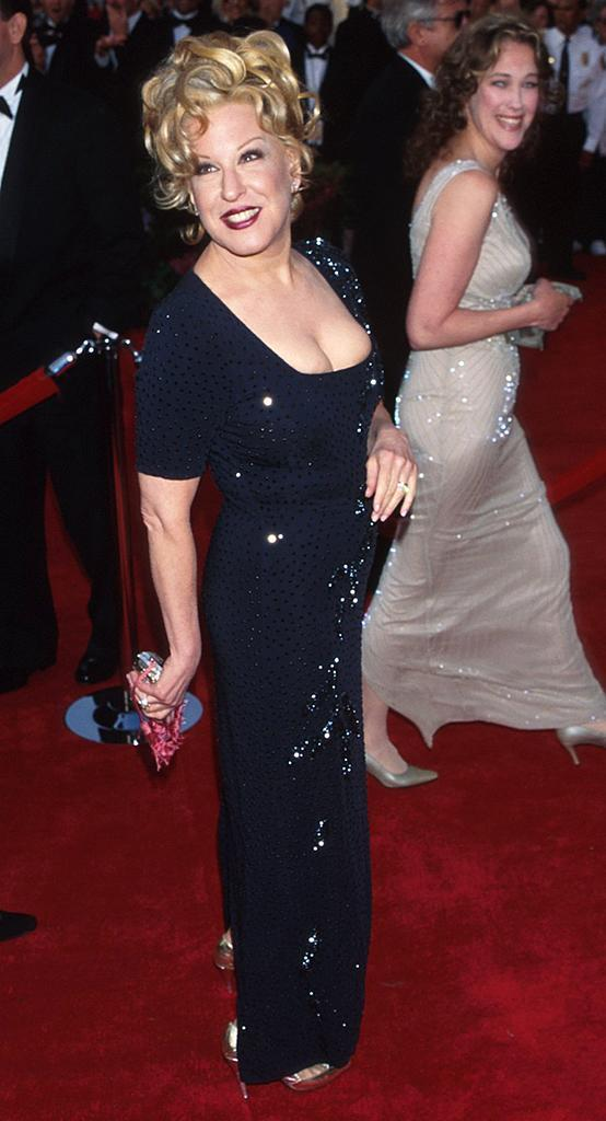<p>The twice-nominated actress and singer presented the award for Best Original Song with her 'First Wives Club' co-stars Goldie Hawn and Diane Keaton. (Photo: Kevin Mazur/WireImage) </p>