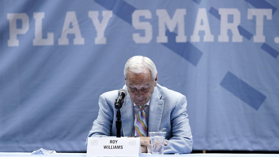 North Carolina Head Basketball Coach Roy Williams pauses while speaking with members of the media during a news conference, Thursday, April 1, 2021, in Chapel Hill, N.C. Williams is retiring after 33 seasons and 903 wins as a college basketball head coach. The Hall of Fame coach led the University of North Carolina to three NCAA championships in 18 seasons as head coach of the Tar Heels. (AP Photo/Gerry Broome)
