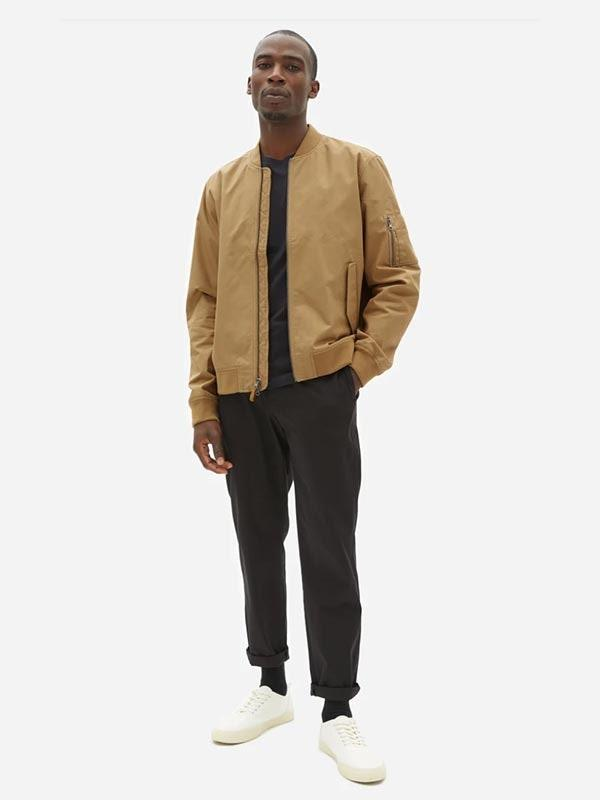 "The kind of everyday wardrobe essential you'll be forced to pry off of his body—it's that versatile. $88, Everlane. <a href=""https://www.everlane.com/products/mens-uniform-bomber-jacket-ochre"" rel=""nofollow noopener"" target=""_blank"" data-ylk=""slk:Get it now!"" class=""link rapid-noclick-resp"">Get it now!</a>"
