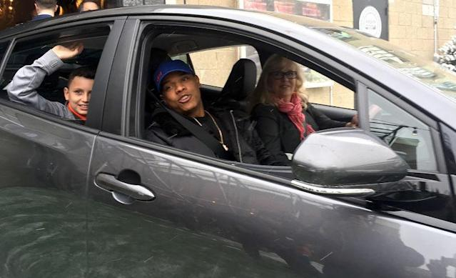 Toronto Blue Jays pitcher Marcus Stroman takes the first Lyft ride in Canada with an outpatient at Sick Kids Hospital and a driver at Lyft launch event in Toronto, Ontario, Canada on December 12, 2017. REUTERS/Alastair Sharp