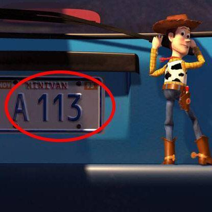 """<p>""""A113"""" is an animator's inside joke: It refers to a classroom number at the <a href=""""https://calarts.edu/"""" rel=""""nofollow noopener"""" target=""""_blank"""" data-ylk=""""slk:California Institute of the Arts"""" class=""""link rapid-noclick-resp"""">California Institute of the Arts</a> where many of the Pixar folks got their start. The number has worked its way into nearly every Pixar movie, from the license plate on Andy's SUV in the <em>Toy Story</em> series, to <a href=""""https://ohmy.disney.com/movies/2016/01/08/all-the-times-a113-shows-up-in-pixar-movies/"""" rel=""""nofollow noopener"""" target=""""_blank"""" data-ylk=""""slk:a roman numeral in Brave"""" class=""""link rapid-noclick-resp"""">a roman numeral in <em>Brave</em></a>, to <a href=""""https://www.digitalspy.com/movies/a861186/incredibles-2-easter-eggs-references-a113-luxo-ball/"""" rel=""""nofollow noopener"""" target=""""_blank"""" data-ylk=""""slk:a movie marquee in"""" class=""""link rapid-noclick-resp"""">a movie marquee in </a><em><a href=""""https://www.digitalspy.com/movies/a861186/incredibles-2-easter-eggs-references-a113-luxo-ball/"""" rel=""""nofollow noopener"""" target=""""_blank"""" data-ylk=""""slk:Incredibles 2"""" class=""""link rapid-noclick-resp"""">Incredibles 2</a></em>. </p>"""