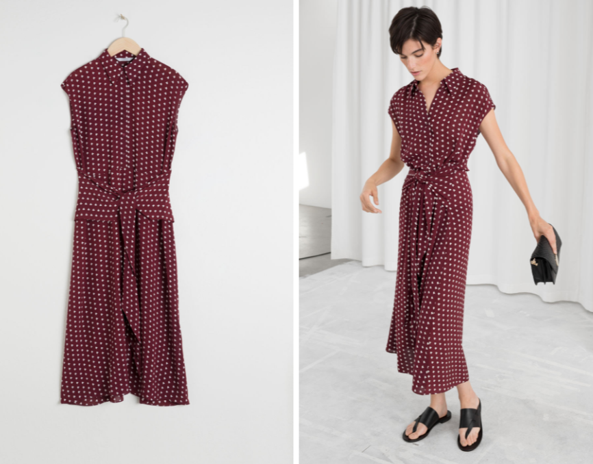 """Meghan is wearing this burgundy dress from & Other Stories. It retails for $163 and is called the """"Waist Knot Midi Dress"""". Photo: & Other Stories"""