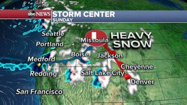 PHOTO: After bringing some rain to the Pacific Northwest coast and the Cascades, the storm will track into the mountains late Saturday into Sunday, and bring snow from the Cascades to the Rockies. (ABC News)