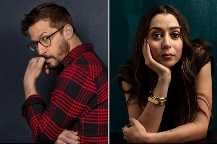"""Andy Samberg and Cristin Milioti of """"Palm Springs,"""" photographed in the L.A. Times Studio at the Sundance Film Festival in Park City, Utah. <span class=""""copyright"""">(Jay L. Clendenin / Los Angeles Times)</span>"""