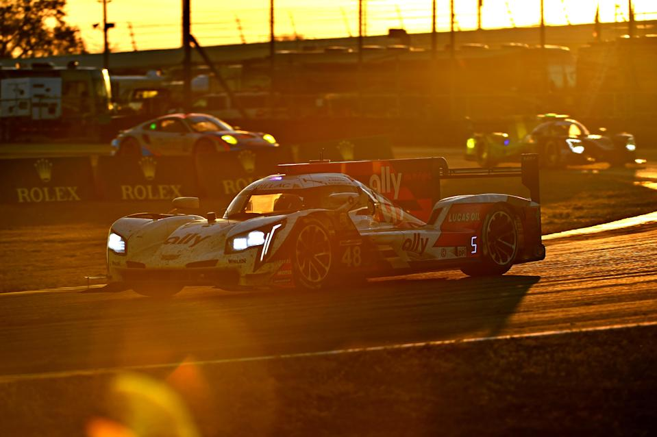 <em>Mike Rockenfeller was behind the wheel of the No. 48 Cadillac as the sun rose Sunday at Daytona International Speedway (Jasen Vinlove/USA TODAY Sports).</em>