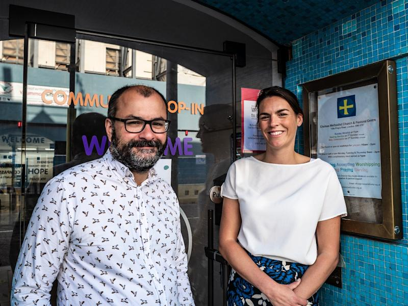 Glass Door CEO Lucy Abraham meets with StreetSmart's Glenn Pougnet in front of the Chelsea Methodist Church, which houses Glass Door's main headquarters and also is home to a drop-in community centre that partners with Glass Door (Lisa Tse)