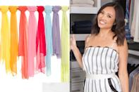 """<p><b>Expert: </b>Lisa Adams, founder of <a href=""""https://www.instagram.com/laclosetdesign/"""" rel=""""nofollow noopener"""" target=""""_blank"""" data-ylk=""""slk:LA Closet Design"""" class=""""link rapid-noclick-resp"""">LA Closet Design</a> </p> <p>One of our favorite solutions for scarves in a closet is to display them hanging on wall-mounted rods. Similarly, you can tie your scarves, ties and pashminas to a towel bar. It's such a simple repurposing of a standard household item that will add so much functionality to an unused wall in your closet.</p>"""