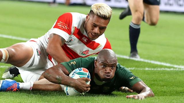 Makazole Mapimpi touched down twice as South Africa ended Japan's incredible Rugby World Cup campaign in the quarter-finals.