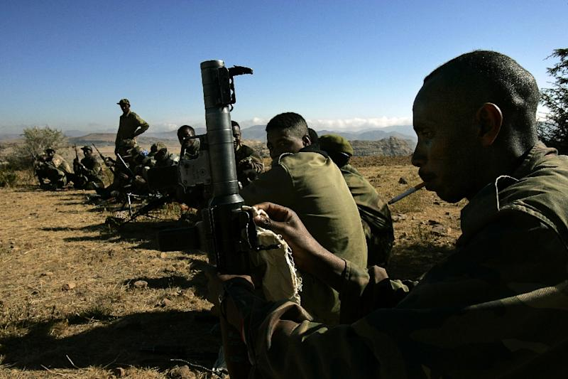 Ethiopian soldiers, pictured in deployment on the border with Eritrea in 2005. A dispute over the frontier triggered a two-year border war -- relations remain poisoned to this day (AFP Photo/MARCO LONGARI)