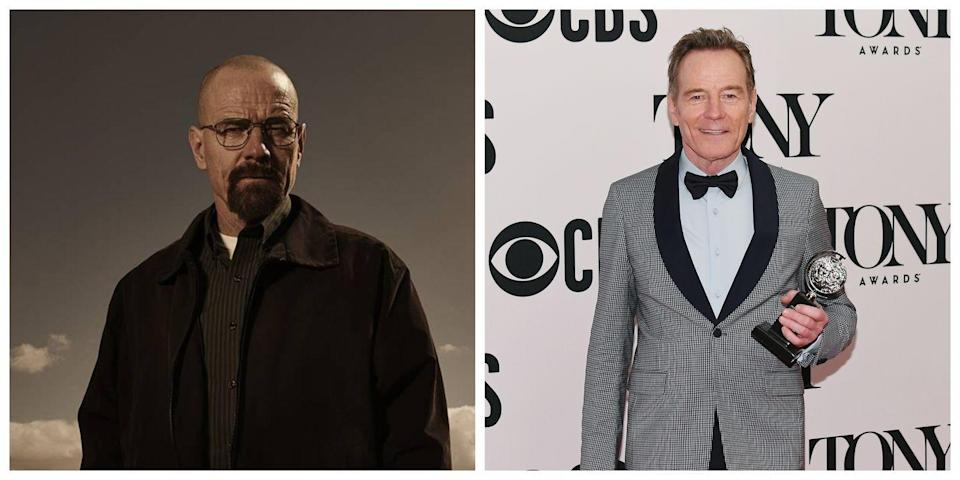 <p>In <em>Breaking Bad</em>, Bryan Cranston plays Walter White, a science teacher who becomes an unlikely criminal. With his shaved head, thick facial hair, and infamous glasses, Walter White looks totally different than Cranston. </p>
