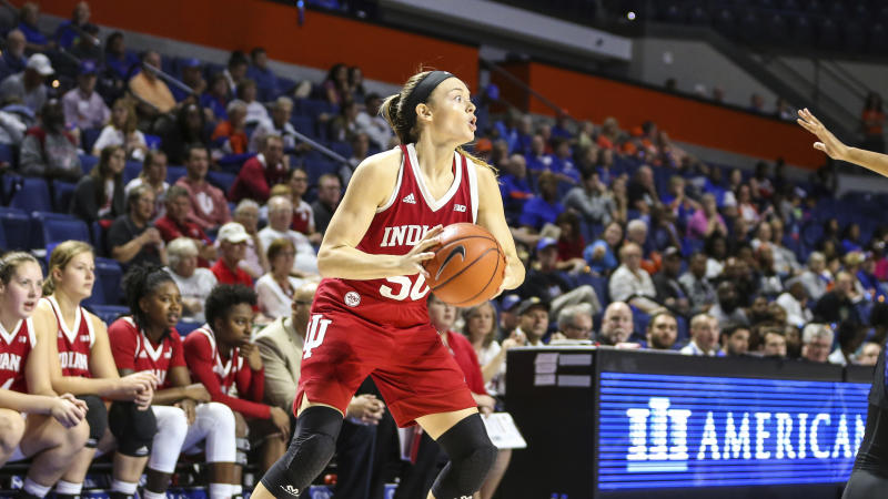 Indiana forward Brenna Wise (50) during the second half of an NCAA women's basketball game against Florida on Friday, Nov. 22, 2019 in Gainesville, Fla. (AP Photo/Gary McCullough)