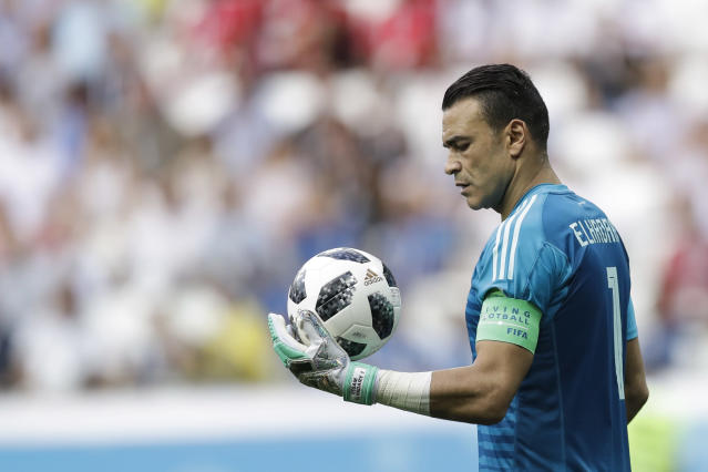 Egypt goalkeeper Essam El Hadary holds the ball during the group A match between Saudi Arabia and Egypt at the 2018 soccer World Cup at the Volgograd Arena in Volgograd, Russia, Monday, June 25, 2018. (AP Photo/Andrew Medichini)