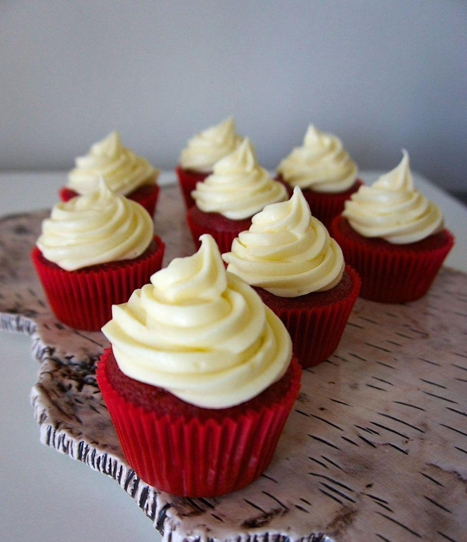 """<p>Is it weird to put cupcakes on your Christmas list? Cause these are all I want this year. </p><p>Get the recipe from <a href=""""https://www.delish.com/cooking/recipe-ideas/recipes/a43392/red-velvet-cupcakes-recipe/"""" rel=""""nofollow noopener"""" target=""""_blank"""" data-ylk=""""slk:Delish"""" class=""""link rapid-noclick-resp"""">Delish</a>. </p>"""