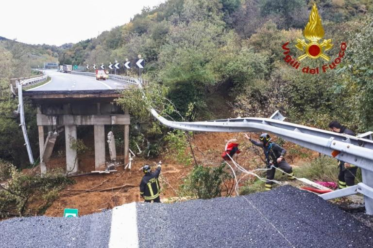 A section of viaduct on the A6 motorway between Turin and Savona was washed away in a landslide