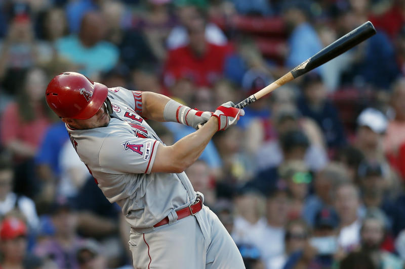 Trout hits 1st homer at Fenway, Angels rout Red Sox 12-4