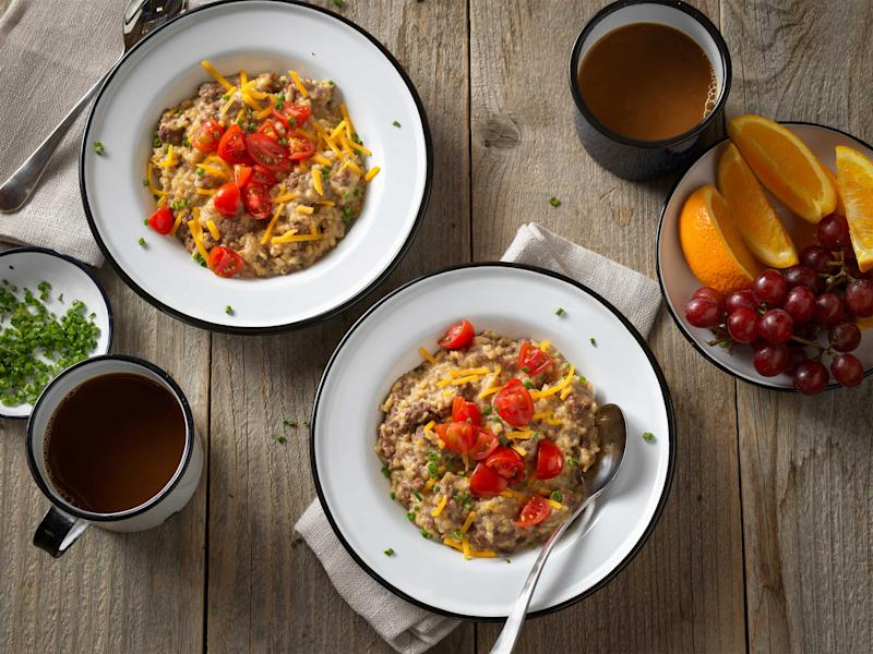 Country Beef Breakfast Sausage meets steel cut oats for a hearty breakfast. Top with cherry tomatoes, cheddar cheese, and chives.