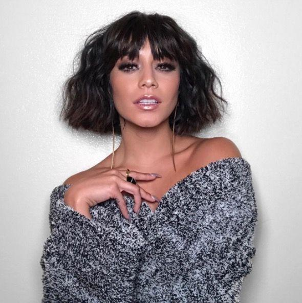 <p>Centre-parted blunt bangs meets a tousled bob = Vanessa Hudgens' best hairstyle yet. </p>