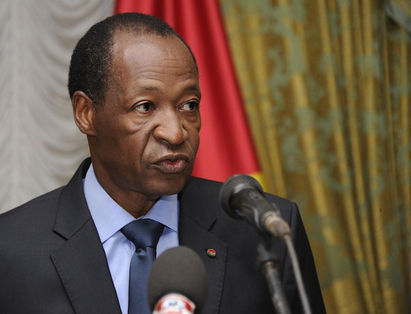 Burkina Faso's then president Blaise Compaore speaks at the Presidential Palace in Ouagadougou on July 26, 2014