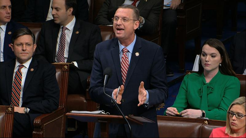 House Judiciary Committee ranking member Rep. Doug Collins, R-Ga., speaks as the House of Representatives debates the articles of impeachment against President Donald Trump at the Capitol in Washington, Wednesday, Dec. 18, 2019. (House Television via AP)