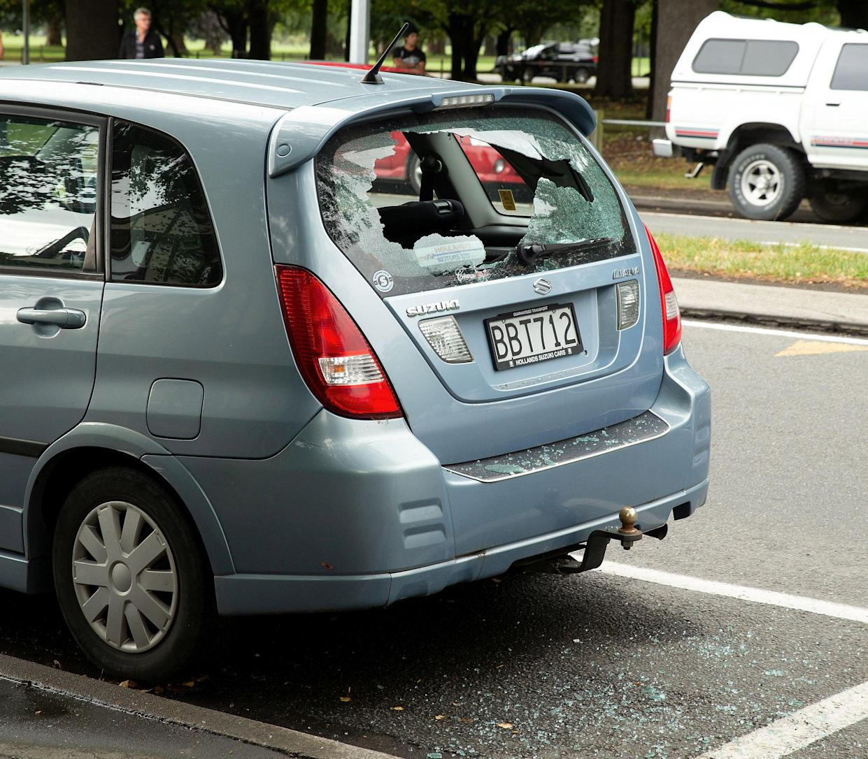 Shattered car window following a shooting at the Al Noor mosque in Christchurch,New Zealand, March 15, 2019. (Photo: Martin Hunter/Reuters)