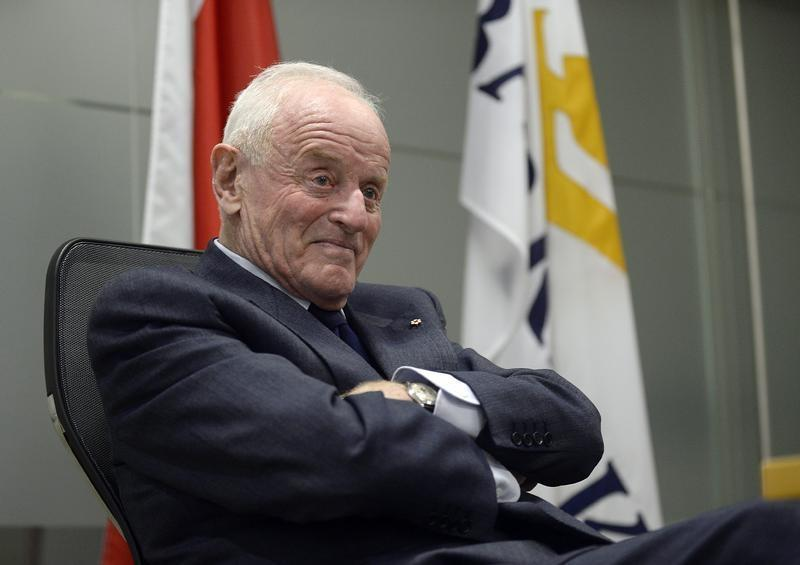 Barrick Gold Corporation Founder and Chairman Peter Munk attends a news conference in Toronto