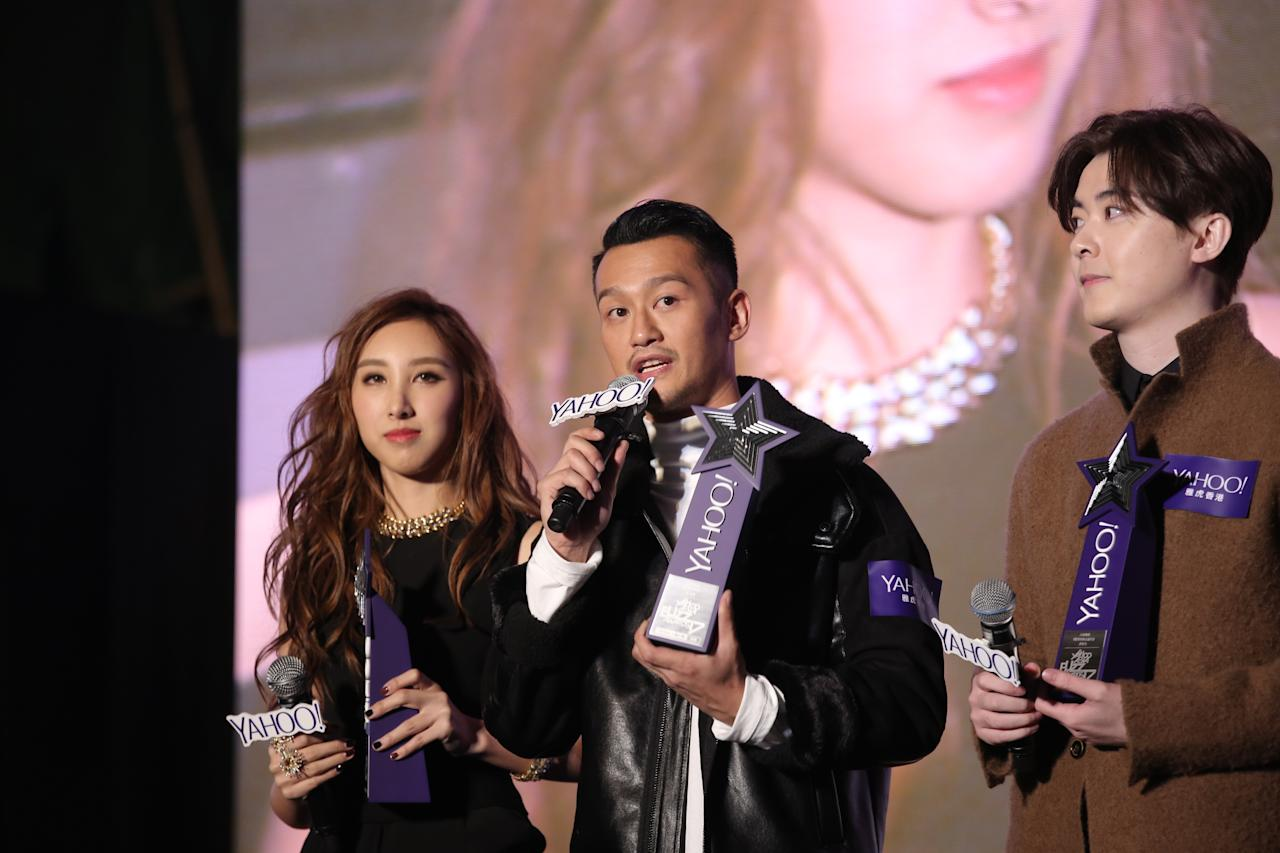 <p>Angela Hui, Deep Ng, Ken Hung at the Yahoo Asia Buzz Awards 2017 in Hong Kong on Wednesday (6 December).</p>