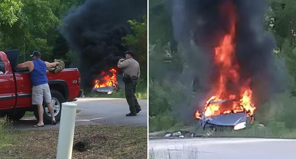 A car pictured on fire in South Carolina.