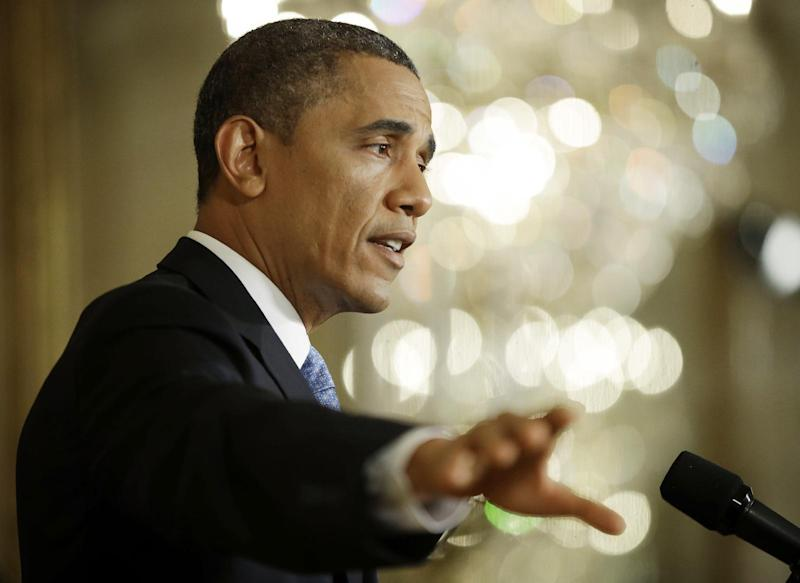 President Barack Obama gestures as he answers questions from members of the media during a news conference in the East Room of the White House in Washington, Monday, Jan. 14, 2013. (AP Photo/Pablo Martinez Monsivais)
