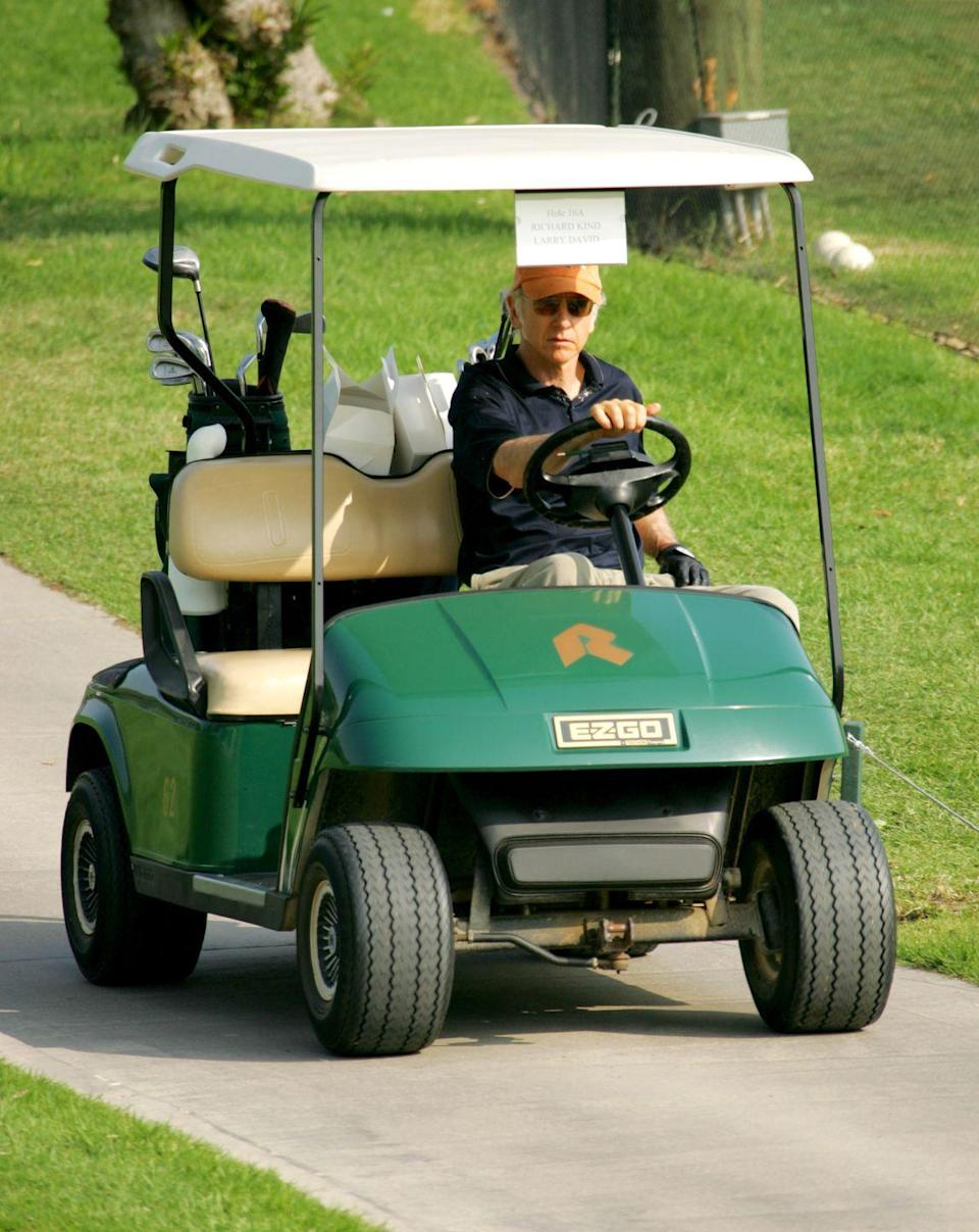 <p>Larry David heads toward the fairway during Golf Digest Celebrity Invitational in 2005.</p>
