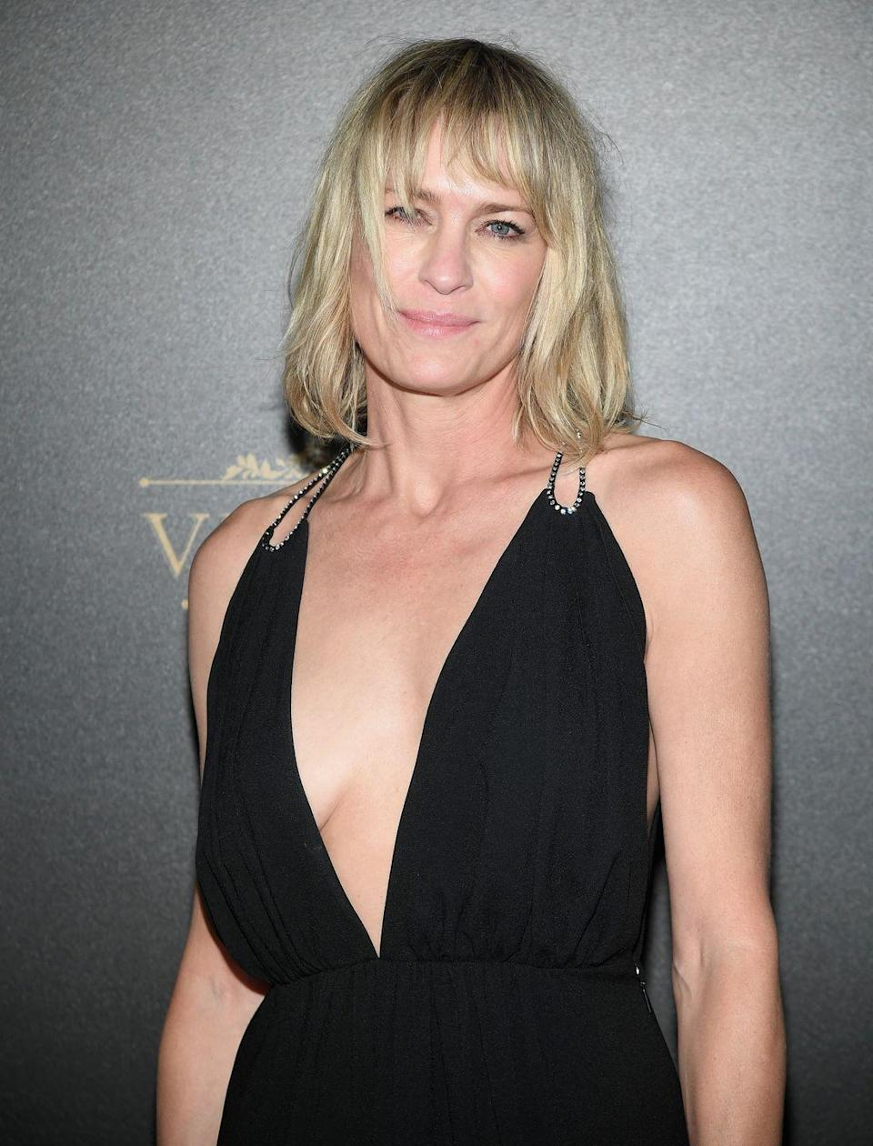 """<p>Robin Wright loves Botox and isn't afraid to admit it. """"Everybody fucking does it,"""" she told the <a href=""""http://www.telegraph.co.uk/culture/tvandradio/10621566/Robin-Wright-on-House-of-Cards-Botox-and-getting-married-again.html"""" rel=""""nofollow noopener"""" target=""""_blank"""" data-ylk=""""slk:Telegraph"""" class=""""link rapid-noclick-resp"""">Telegraph</a> in 2014. """"I suppose I can't say 'everybody' because I don't know for sure, but come on. It's just the tiniest sprinkle of Botox twice a year. I think most women do 10 units, but that freezes the face and you can't move it. This is just one unit, and it's just sprinkled here and there to take the edge off... Perhaps it's not wise to put that in a magazine? But I ain't hiding anything.""""</p>"""