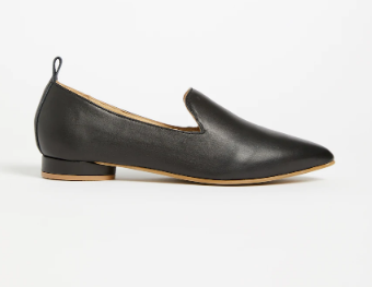 The District Small-Heeled Suede Loafer in True Black