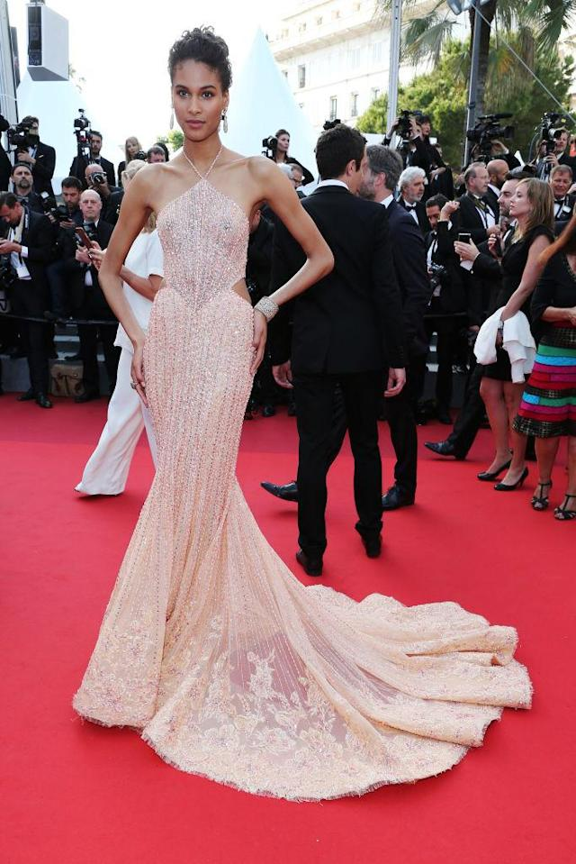 "<p>The model wore a light peach, mermaid silhouette gown at ""The Beguiled"" screening on May 24, 2017 in Cannes. (Photo by Gisela Schober/Getty Images) </p>"