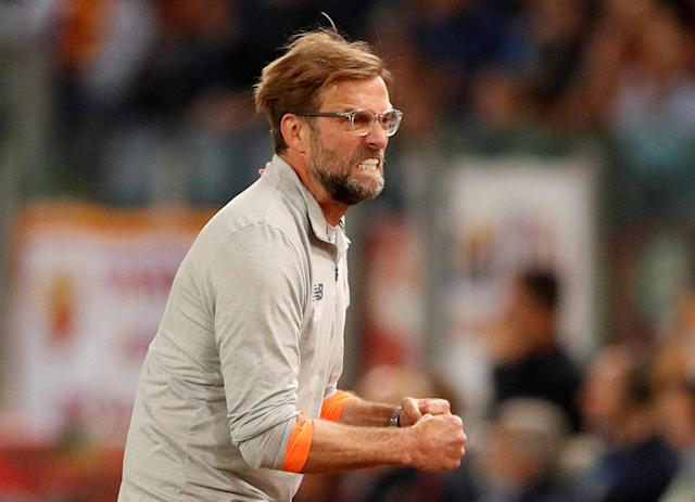 Soccer Football - Champions League Semi Final Second Leg - AS Roma v Liverpool - Stadio Olimpico, Rome, Italy - May 2, 2018 Liverpool manager Juergen Klopp celebrates after Sadio Mane scores their first goal Action Images via Reuters/John Sibley TPX IMAGES OF THE DAY